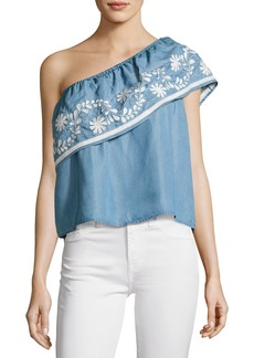 Rebecca Minkoff Rita One-Shoulder Embroidered Top