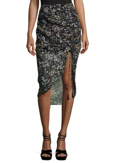 Rebecca Minkoff Romy Ruched-Side Floral Midi Skirt