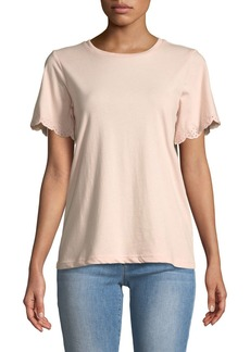 Rebecca Minkoff Ronnie Eyelet Short-Sleeve Crewneck T-Shirt
