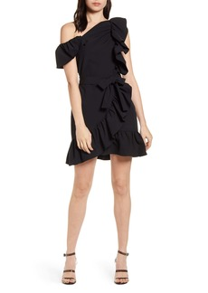 Rebecca Minkoff Ruffle Detail One-Shoulder Dress