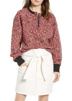 Rebecca Minkoff Sara Ditsy Floral Quarter Zip Sweatshirt
