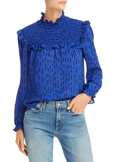 Rebecca Minkoff Sharon Smocked Printed Top