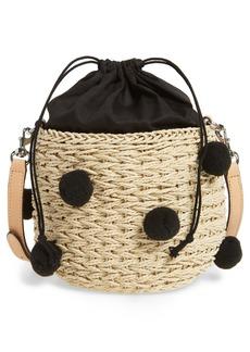 Rebecca Minkoff Straw Pom Pom Bucket Bag