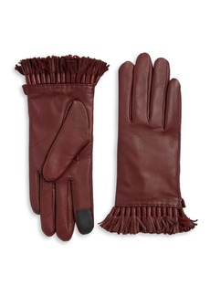 Rebecca Minkoff Tech Touch Fringe Trim Leather Gloves
