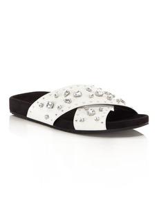 Rebecca Minkoff Theo Jeweled Leather Pool Slide Sandals