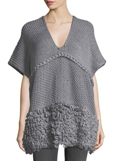 Rebecca Minkoff V-Neck Knit Poncho w/ Looped Yarn Trim