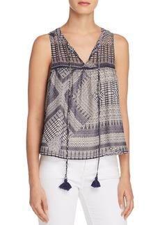 Rebecca Minkoff Vicky Printed Tassel-Tie Top