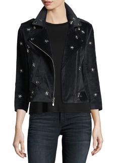 Rebecca Minkoff Wes Faux-Suede Moto Jacket w/ Star Studs