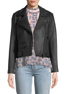 Rebecca Minkoff Wes Zip-Front Pebbled Leather Moto Jacket