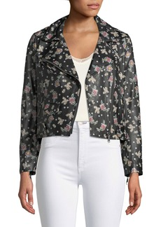 Wes Zip-Front Printed Leather Moto Jacket