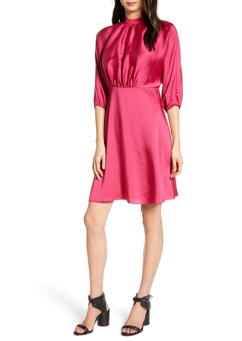 Rebecca Minkoff Whitney Mock Neck Satin Dress