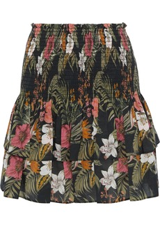 Rebecca Minkoff Woman Amari Tiered Floral-print Cotton-broadcloth Mini Skirt Black