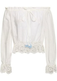 Rebecca Minkoff Woman Anthea Off-the-shoulder Broderie Anglaise Cotton Top Ivory
