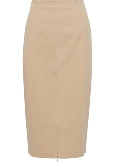 Rebecca Minkoff Woman Antonia Zip-detailed Stretch-cotton Twill Pencil Skirt Beige