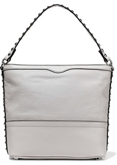 Rebecca Minkoff Woman Blythe Studded Smooth And Textured-leather Shoulder Bag Stone
