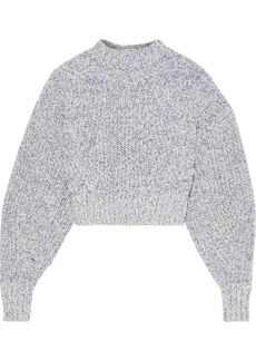 Rebecca Minkoff Woman Bowie Cropped Ribbed Mélange Cotton-blend Sweater Blue