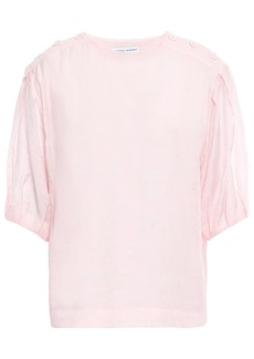 Rebecca Minkoff Woman Button-detailed Modal-blend Jacquard Top Baby Pink
