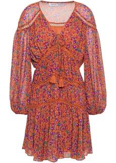 Rebecca Minkoff Woman Caden Lattice-trimmed Floral-print Crepe De Chine Mini Dress Orange