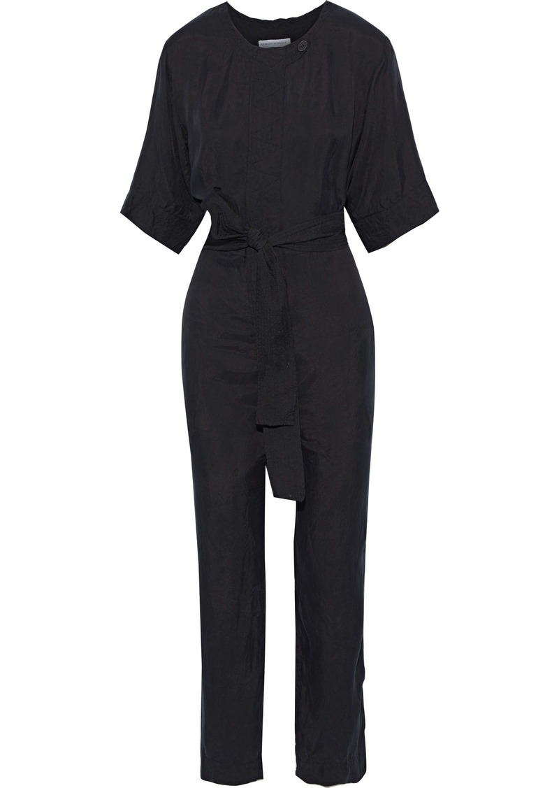 Rebecca Minkoff Woman Carrie Belted Twill Jumpsuit Black