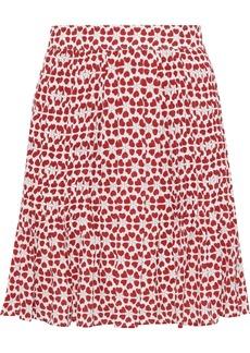 Rebecca Minkoff Woman Cassia Pleated Printed Crepe Mini Skirt Tomato Red