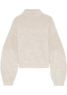 Rebecca Minkoff Woman Chase Bouclé And Ribbed-knit Sweater Ecru