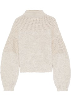 Rebecca Minkoff Woman Chase Bouclé And Ribbed-knit Sweater Ecru