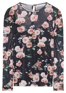 Rebecca Minkoff Woman Cyder Floral-print Stretch-mesh Top Black