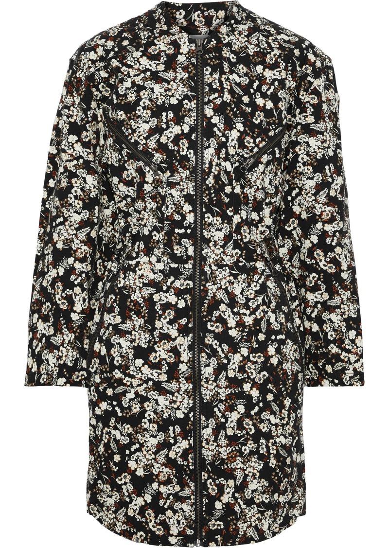 Rebecca Minkoff Woman Daphne Zip-detailed Floral-print Stretch-cotton Drill Mini Dress Black