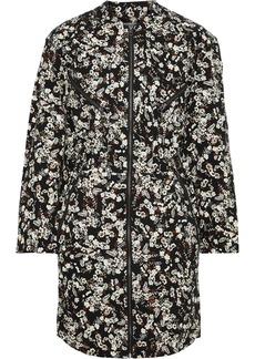 Rebecca Minkoff Woman Daphne Zip-detailed Floral-print Stretch-cotton Drill Mini Dress Black