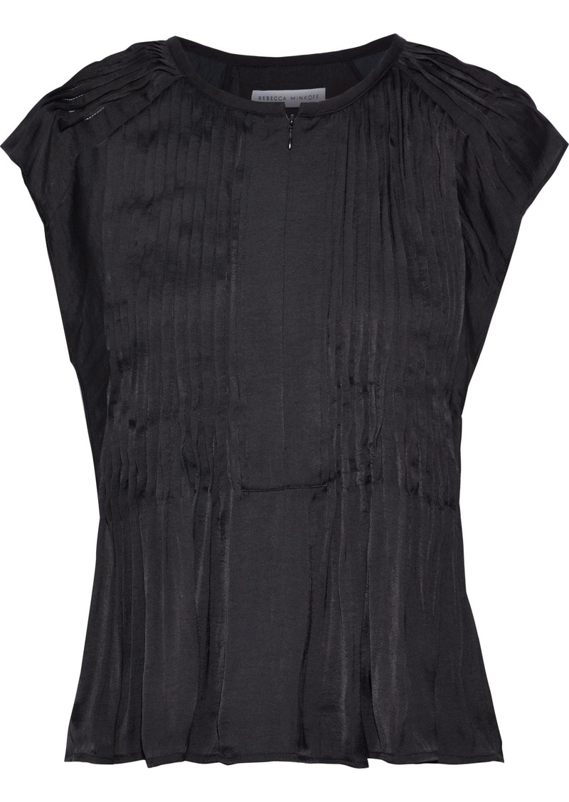 Rebecca Minkoff Woman Deandra Pintucked Crepe De Chine Top Black