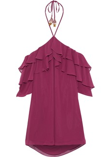 Rebecca Minkoff Woman Dena Ruffled Georgette Halterneck Mini Dress Magenta