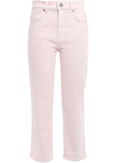 Rebecca Minkoff Woman Dominica Cropped Printed High-rise Straight-leg Jeans Pastel Pink
