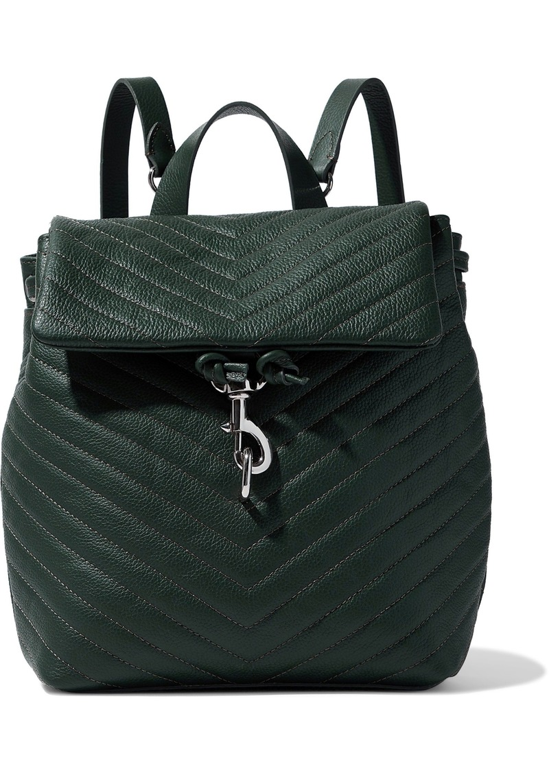 Rebecca Minkoff Woman Edie Quilted Textured-leather Backpack Dark Green