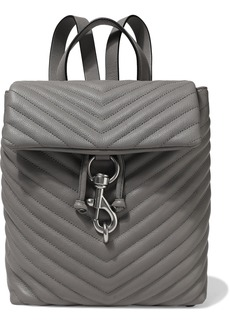 Rebecca Minkoff Woman Edie Quilted Textured-leather Backpack Gray