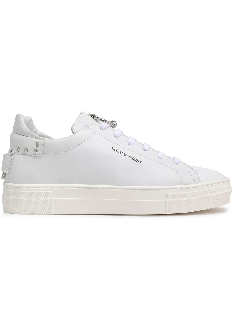 Rebecca Minkoff Woman Embellished Leather Sneakers White