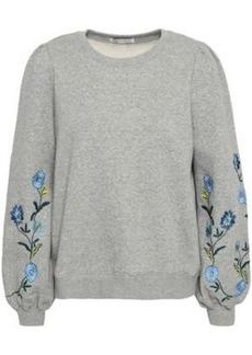 Rebecca Minkoff Woman Embroidered Cotton-blend Fleece Sweatshirt Light Gray