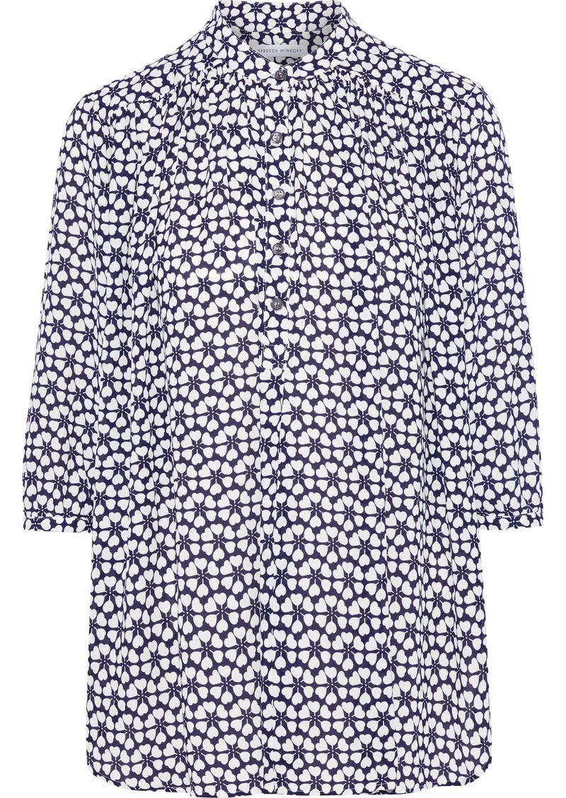 Rebecca Minkoff Woman Fleur Gathered Printed Crepe Shirt Navy
