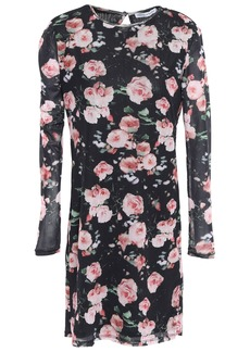 Rebecca Minkoff Woman Floral-print Tulle Mini Dress Black