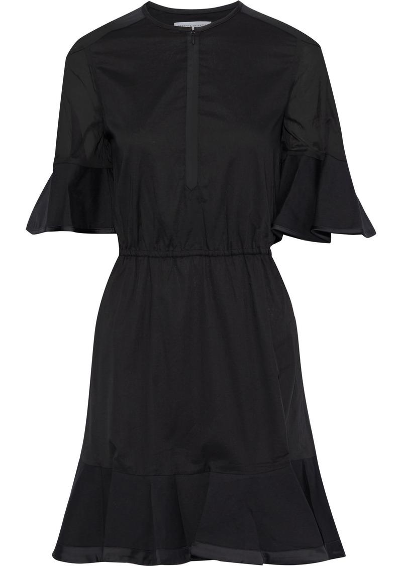 Rebecca Minkoff Woman Frankie Satin-trimmed Cotton-broadcloth Mini Dress Black