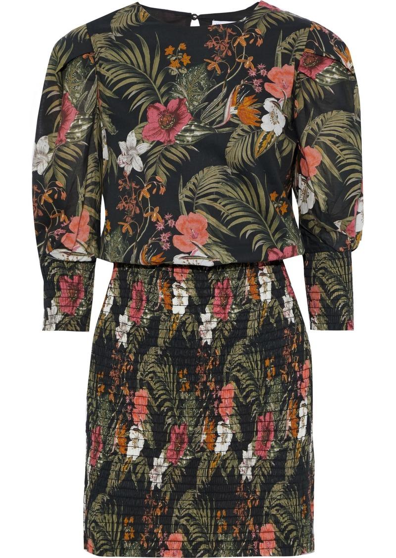 Rebecca Minkoff Woman Geneva Shirred Floral-print Cotton-broadcloth Mini Dress Black