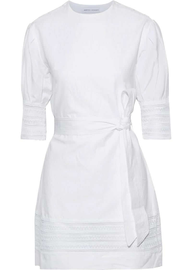Rebecca Minkoff Woman Georgina Crochet-trimmed Cotton And Linen-blend Mini Dress White