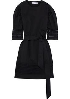 Rebecca Minkoff Woman Georgina Lace-trimmed Cotton And Linen-blend Canvas Mini Dress Black