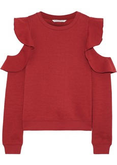 Rebecca Minkoff Woman Gracie Ruffled Melangé Fleece Sweatshirt Red