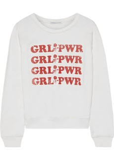 Rebecca Minkoff Woman Grl Pwr Printed French Cotton-terry Sweatshirt Ivory