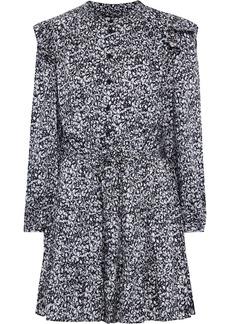 Rebecca Minkoff Woman Hannah Gathered Floral-print Satin-twill Mini Dress Black