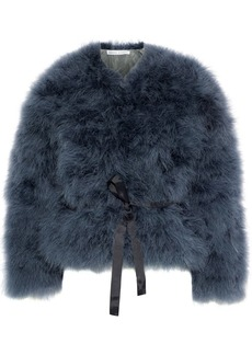 Rebecca Minkoff Woman Harper Belted Feather Jacket Charcoal