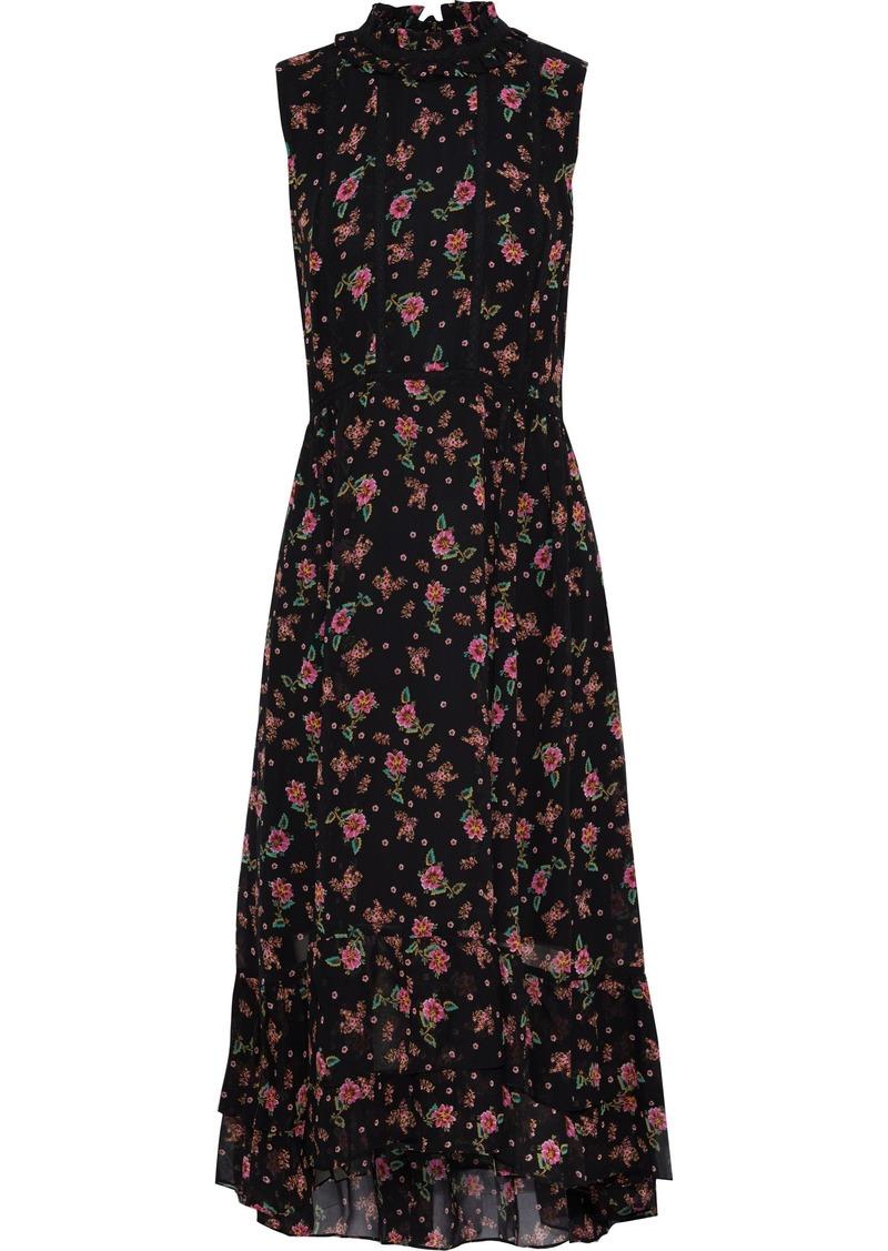 Rebecca Minkoff Woman Harvey Crochet-trimmed Floral-print Chiffon Midi Dress Black