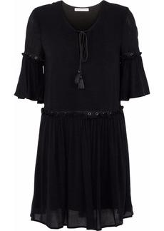 Rebecca Minkoff Woman Helen Embellished Ruffled Gauze Mini Dress Black
