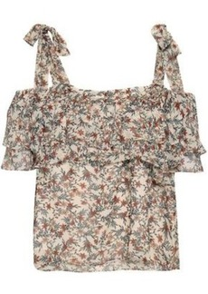 Rebecca Minkoff Woman Jamie Cold-shoulder Tiered Floral-print Gauze Top Ecru