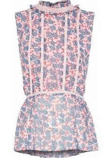 Rebecca Minkoff Woman Jamie Lace-trimmed Floral-print Chiffon Top Pastel Pink